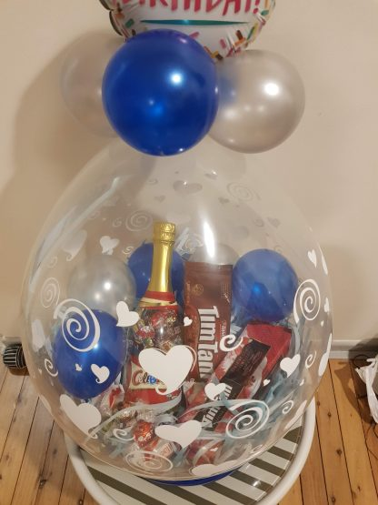 """Stuffed Balloon with 9"""" topper and Customised Message on the Balloon"""